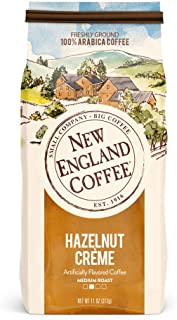New England Coffee Hazelnut Creme, Medium Roast Ground Coffee, 11 Ounce (1 Count) Bag