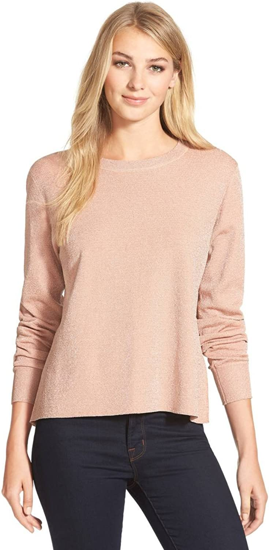 CeCe Womens Metallic Jacquard Sweater orange XL