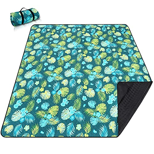 """Picnic Blankets Extra Large, Waterproof Foldable Outdoor Beach Blanket Oversized 83x79"""" Sandproof, 3-Layer Picnic Mat for Camping, Hiking, Travel, Park, Concerts (Yellow Flowers)"""