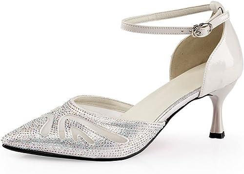 BYLE Sangle de Cheville Sandales en Cuir Chaussures de Danse Modern'Jazz Samba Chaussures de Danse Latine Fond Mou des Femmes Adultes, High-Heeled Sandals argent 6.5CM