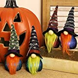 MIMORE Gnomos de Halloween 7 luces cambiantes de color, Swedish Tomtes Witch Gnomes decoración navideña – Set de 4