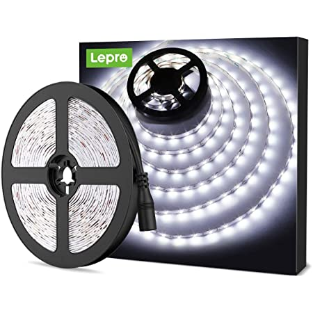 LE 5M LED Strip Lights 300 Units SMD 2835 12V Low-Voltage Striplight Non-Waterproof LED Tape Daylight White Ribbon Lighting for Home Kitchen Cabinet TV Backlight and More