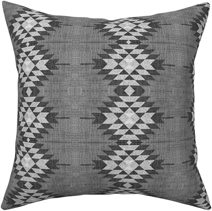 Amazon Com Roostery Throw Pillow Texture Diamond Tribal Geo Geometric Woven Print Linen Cotton Canvas Knife Edge Accent Pillow 18in X 18in With Insert Home Kitchen