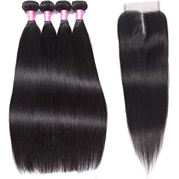 FQ Peruvian Straight Human Hair 4 Bundles with Closure(20/22/24/26+16 Inch) Middle Part 10A Unprocessed Virgin Human Hair Bundles with Closure Straight Human Hair Weave Bundles and Closure 5 Bundle Deals