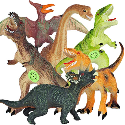 YAOASEN Jumbo Dinosaur Toys,Inc-T-Rex Triceratops with Sound, 6 Pcs 13 to15 Inches Big Soft PVC Educational Realistic Figures for Kids Toddlers, Perfect for Boys 3-7 Party Birthday Gifts Favors