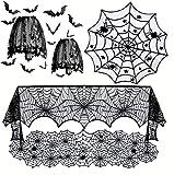 JOERRES-Juego de 6 piezas de decoraciones de Halloween,mantel redondo de encaje de Halloween,mantel...