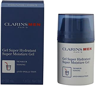 Clarins Super Moisture Gel for Men | Cooling Formula Hydrates and Matifies Skin | Powerful Plant Extracts Moisturize Even in Extreme Weather | Calms and Tones Face After Shaving | 1.8 oz