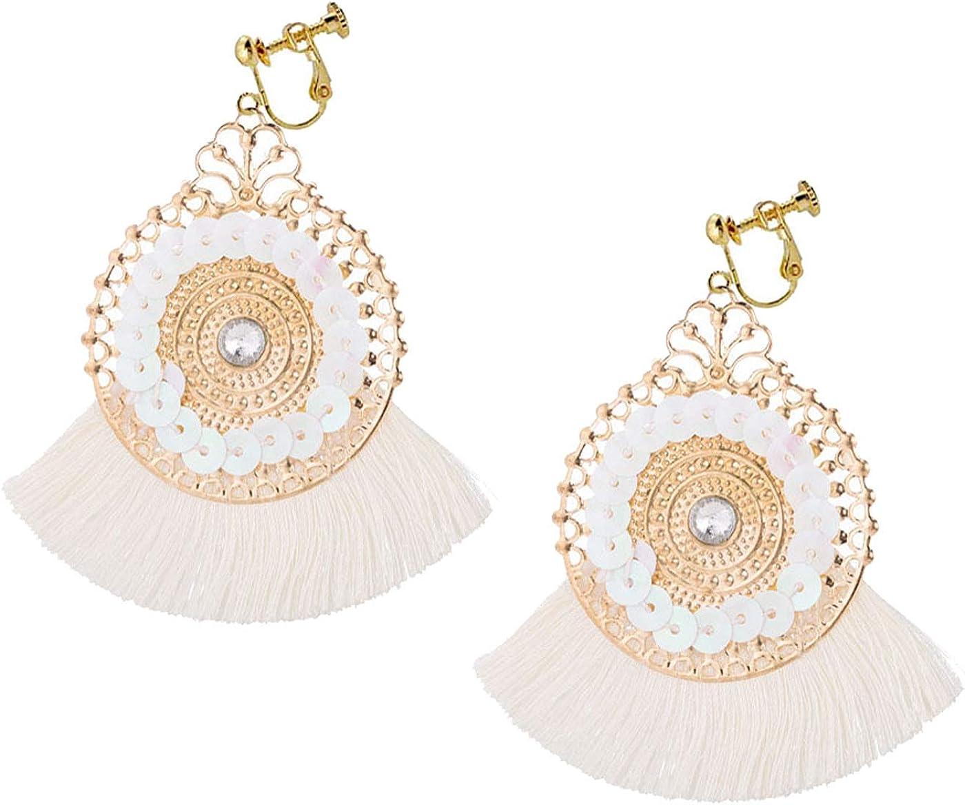 Retro Clip on Bohemian Earrings for Women Girl Gold Plated Disc Dangle Fan Drop Silk Thread Tassel Boho