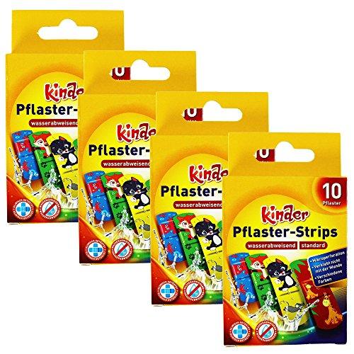 com-four® 40x Kinderpflaster wasserabweisend - Bunte Pflaster-Strips für Kinder - Pflaster-Set mit Tier-Motiven - klinisch getestet