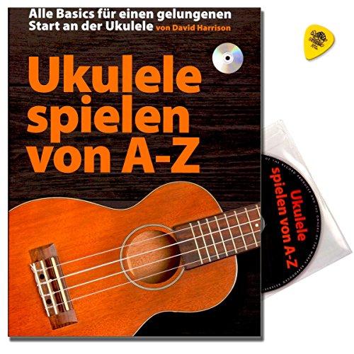 Ukelele spelen van A-Z, school van David Harrison - meest gedetailleerde en meest uitgebreide introducties in het ukelele-spel imt CD en Dunlop Plek - Bosworth Music BOE7814 9783865439246