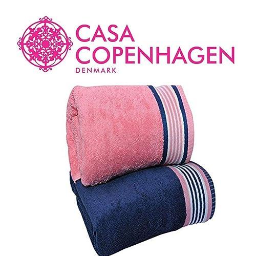 Casa Copenhagen 500 GSM 2 Piece Cotton Bath Towel Set - 70 cm X 140 cm, Victorian Pink and Majestic Blue