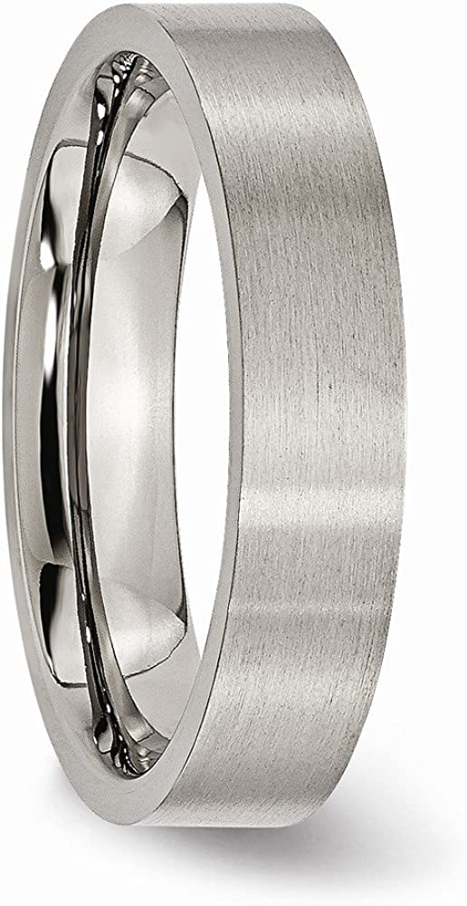 ICE CARATS Titanium Brushed 5mm Flat Wedding Ring Band Classic Fashion Jewelry for Women Gifts for Her