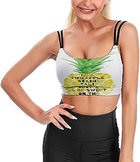 Cyloten Women's Sport Tank Top Be A Pineapple Stand Tall Wear A Crown Fitness Camisole Crop Top Longline Padded Bra -