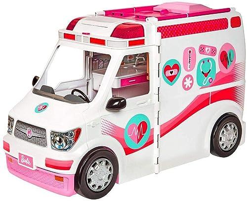 Barbie Véhicule Médical rose et blanc pour poupée, voiture ambulance transformable en hôpital avec plus de 20 accesso...