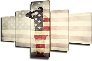 Framed American Flag Pictures Military Paintings Saluting Soldier Wall Art 5 Piece Canavs Modern Artwork Rustic Home Decor for Living Room Giclee Gallery Wrapped Stretched Ready to Hang(50''Wx24''H)