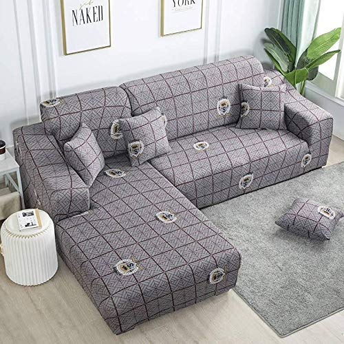 HYRGLIZI Sofa Cover L-Shaped, Polyester Stretch Fabric, Sectional Sofa Slipcovers, with Two Pillowcases, L Shape Corner Sofa Cover Set for Living Room-N-L Shape 3+3 Seater