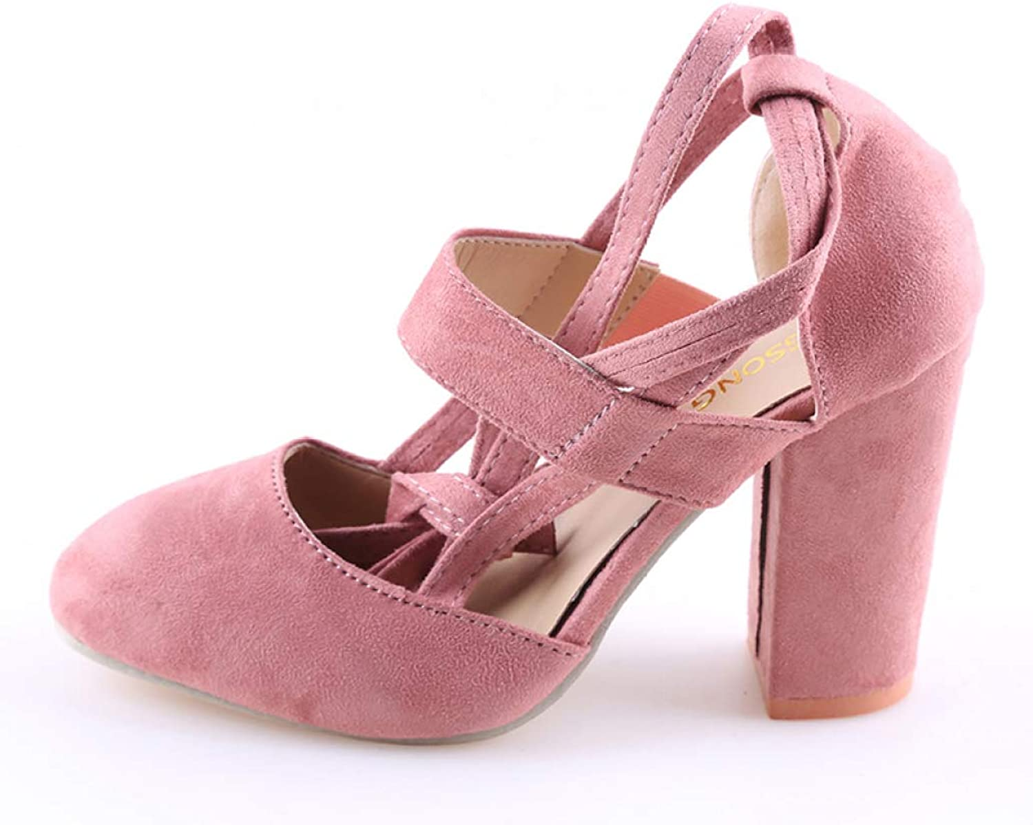 MEIZOKEN Women's Round Toe D'Orsay Pumps Sandal Fashion Cutout Lace Up High Heel Chunky Sandals