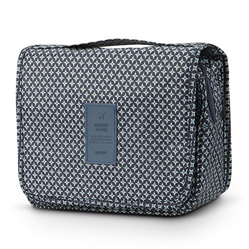 Mossio Hanging Toiletry Bag - Large Cosmetic Makeup Travel Organizer for Men & Women with Sturdy Hook (Navy Star)