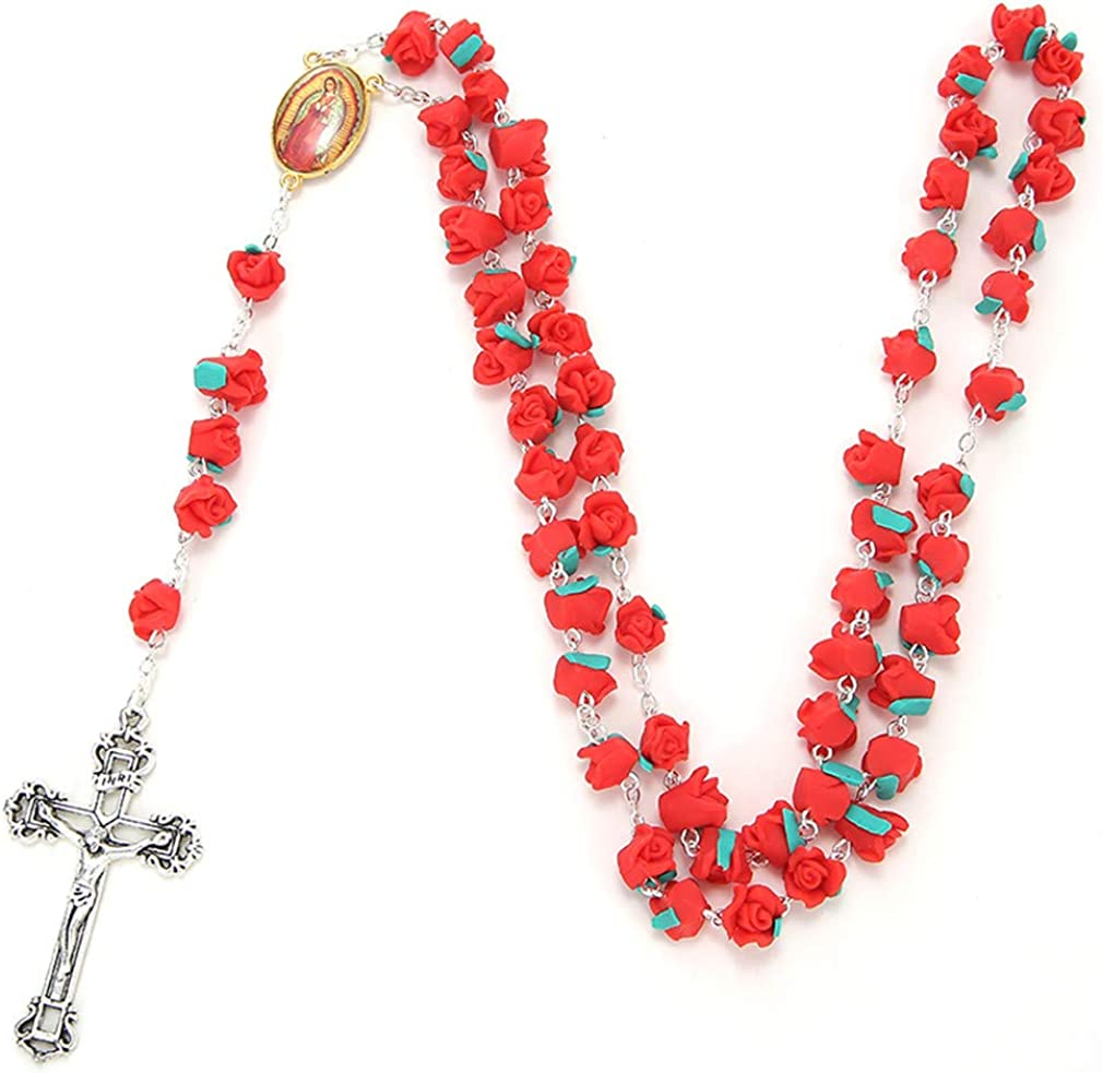 YEYULIN Polymer Clay Rose Flower Max 47% OFF Bead security Long Alloy Rosary Necklace