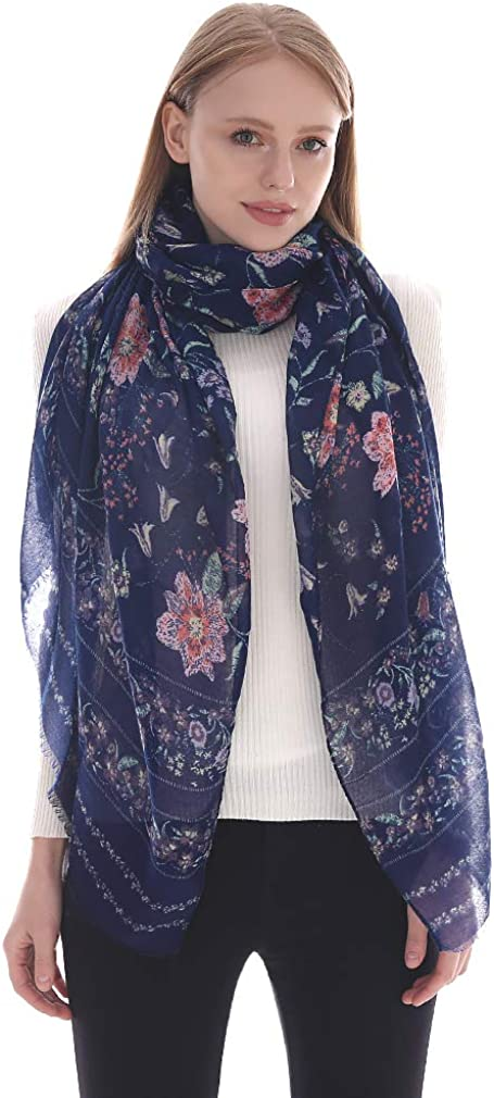LMVERNA Fashion Printed Long Scarf for Women Classic Pattern Design Scarves with Fringed Edge