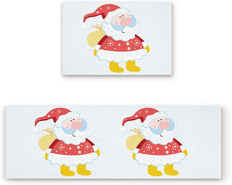 Aomike 2 Piece Non-Slip Kitchen Mat Rubber Backing Doormat Cartoon Santa Claus Runner Rug Set, Hallway Living Room Balcony Bathroom Carpet Sets (19.7  x 31.5 +19.7  x 47.2 )