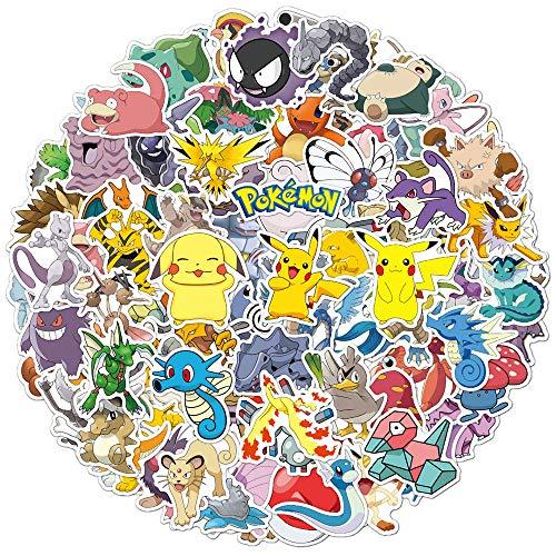 100 pegatinas de anime para Pokemon, lindas pegatinas de dibujos animados impermeables paquete para botellas de agua, MacBook portátil, monopatín, guitarra, coche, etc.