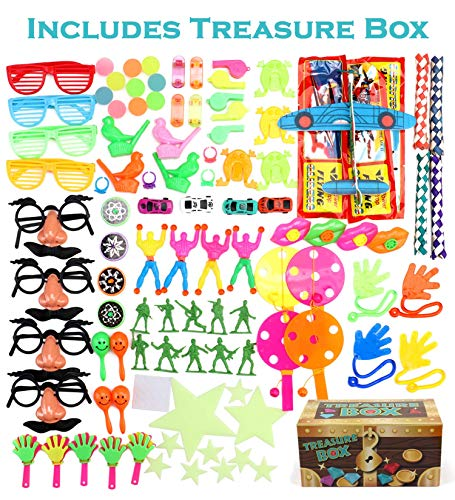 Treasure Box Prizes for Classroom, 100 Piece Party Favors for Kids, Birthday Party and Carnival Games For Kids, Perfect for Goodie Bags, Pinata Candy and Toys Filler