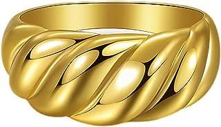 خواتم كرواسون مكتنزة من JIAHATE ، النساء الفتيات الذهب كرواسون قبة خاتم سيجنيت تويست عريض خواتم المجوهرات، حجم 5-10