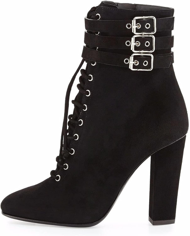 Damen Chunky Chunky Heels schwarz Square Kopf Wildleder High Heels Stiefeletten Super High Heel (8CM Oder Mehr)  70% günstiger