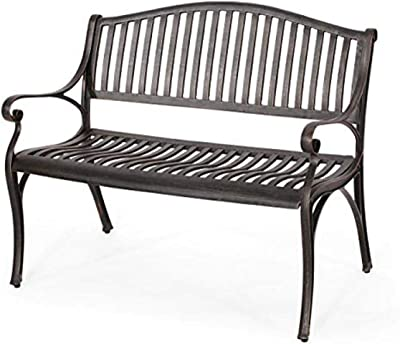 Christopher Knight Home Camille Outdoor Traditional Cast Aluminum Bench, Bronze