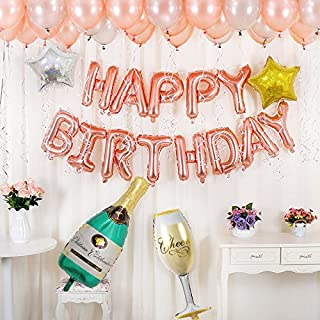 BALONAR Birthday Party Decoration Kit Happy Birthday Banner Champagne Bottle Goblet Stars Latex Balloons for Birthday Party Supplies … (Rose Gold)