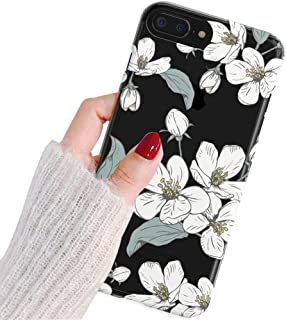 iPhone 7 Plus Case,iPhone 8 Plus Case,Elegant White Cherry Blossom Flowers Floral Clear Back Soft TPU Anti-Scratch Shock Absorption Protective Case Cover for iPhone 7/8 Plus 5.5 inch
