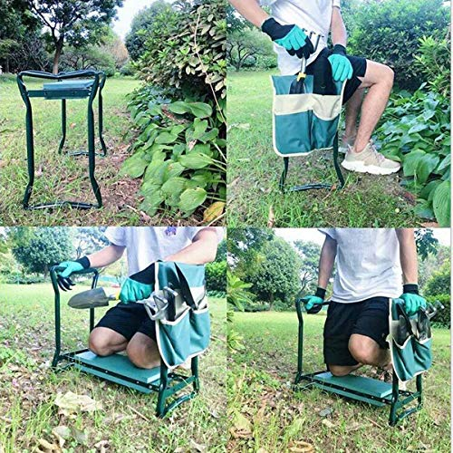 Gugou Garden Kneeler and Seat Foldable Stool for Ease of Storage - EVA Foam Pad - Sturdy and Lightweight - Bench Comes with Tool Pouch!