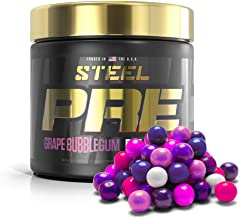 Sponsored Ad - Steel Supplements PRE Pre Workout Powder Energy Drink Intensity Nootropic Focus 30 Servings (Grape Bubblegum)