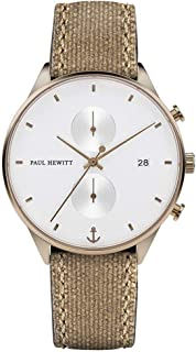 Paul Hewitt Men's 42mm Leather Band Steel Case Quartz Watch PH-C-Br-W-47M