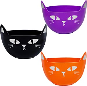Zcaukya Halloween Party Supplies, Set of 3 Halloween Plastic Trick Treat Candy Bowls, Large Halloween Candy Holders, Cat Shaped Plastic Serving Bowl in Orange Purple Black for Halloween Parties
