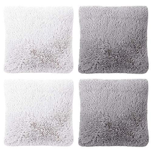 umorismo 4 Stück flauschige Kissenbezüge aus Kunstfell, Plüsch-Kissenbezüge für Wohnzimmer, Schlafzimmer, Sofa, grau/weiß, 45 x 45 cm