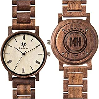 Swanky Badger Personalized Groomsmen Gift Wooden Watch - Sandalwood, Ebony and Bamboo