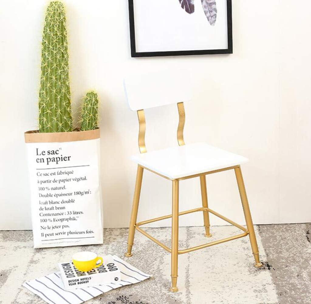 Chaise nordique de loisirs en fer forgé, peinture à hautes températures 78CM de dos de métal de selles de maquillage simple haut,Yellow Blue