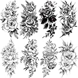 8 Piezas Peonía Rosa Flor Tatuajes Temporales Para Mujeres Arte Camelia Flores Pintura Tatuaje Brazo Lavable Falso Tatuaje Pegatinas