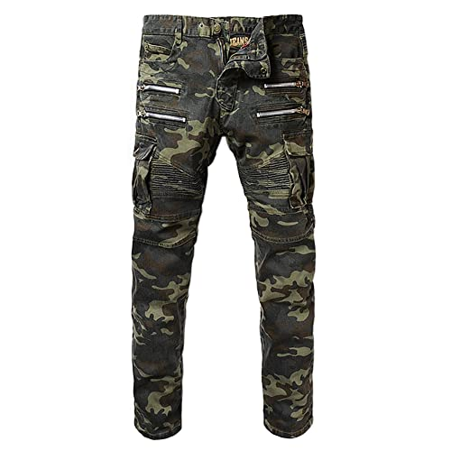 Denim Mens Camouflage Pockets Slim Biker Jeans