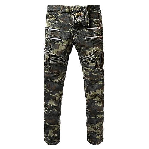 Denim Mens Camouflage Pockets Slim Biker Jeans