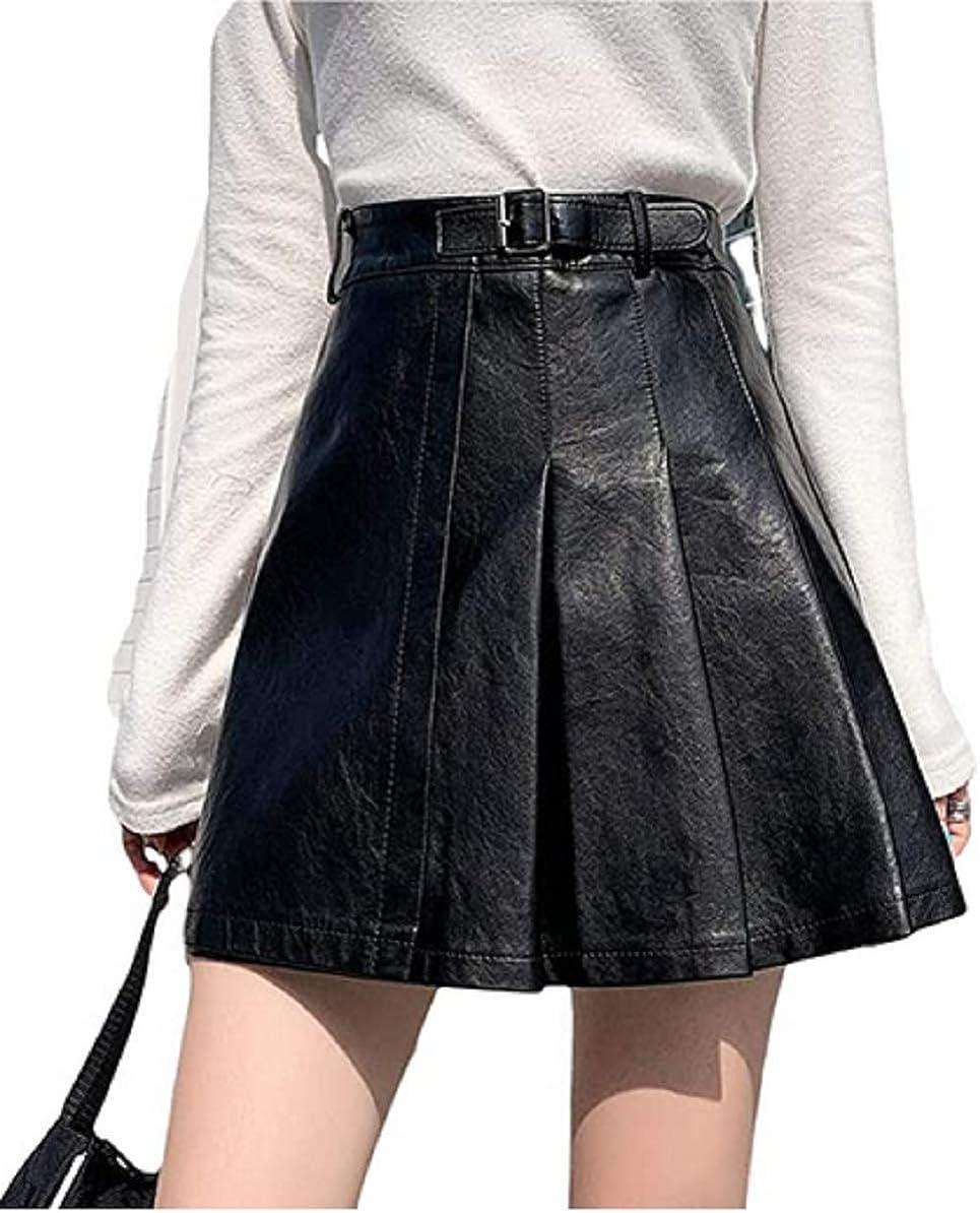 GuliriFei Women's Shiny Metallic Wet Look Stretchy Flared Mini Skater Skirt Faux Leather Skater Skirts