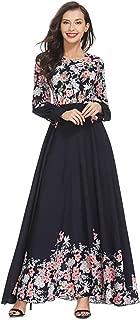 Hot New! Womens Long Dress,Middle East Muslim Islamic Arab Kaftan Clothing Loose Floral Pattern Robe Maxi Dresses