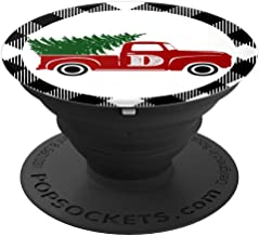 Cute Christmas Tree Red Truck Monogram D White Buffalo Plaid PopSockets Grip and Stand for Phones and Tablets