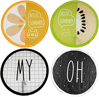 ZXSWEET 4 PCS Foldable Round Beautiful Pattern Handheld Folding Fans Cooling Pocket Great Wedding Decoration, Birthdays, Home Gifts, Alphabet and Fruit Series