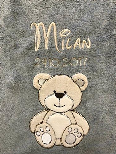 Babydecke bestickt mit Name und Geburtsdatum/kuschelig weich / 1A Qualität nach Ökotex 100 Standard - farbecht (Anthrazit - BÄR)