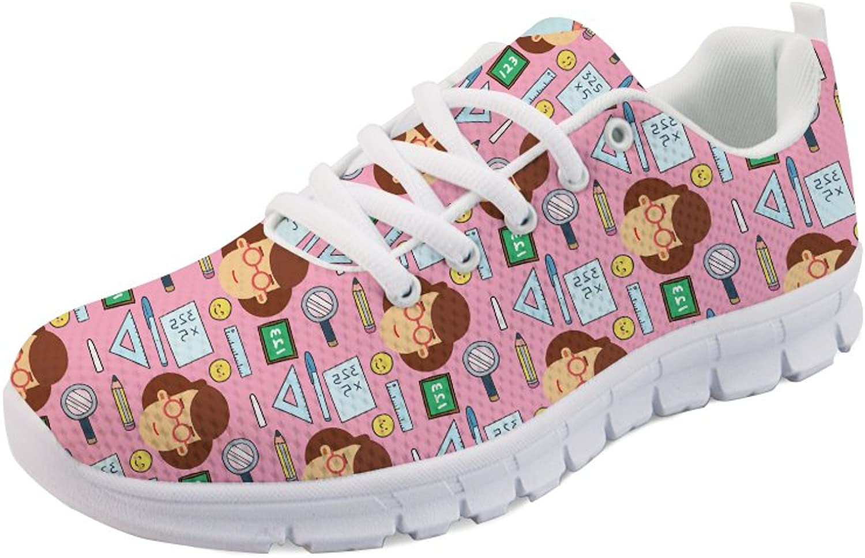 HUGS IDEA Women's Jogging Running Sneakers Teacher Theme Print Lightweight Walking shoes