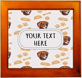 Ceramic Tile in Wood Frame Custom Black Tan Virginia Foxhound Pattern G Adults