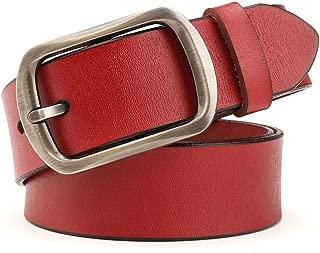 Women's Belt Leather Belt Casual Cowboy Cowhide Leather Back Belt (Color : Red, Size : 110cm)